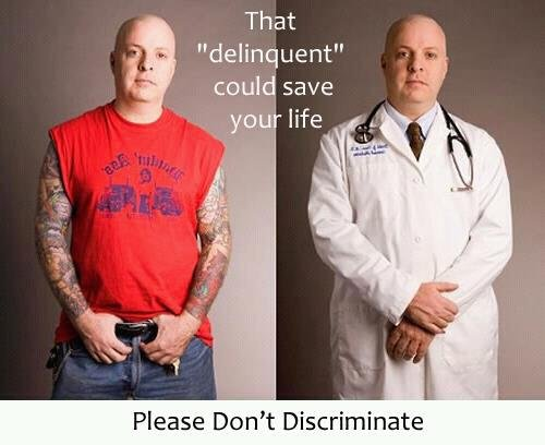 Image of one man with tatoos standing next to himself in doctors garb covering his tatoos and the words That Delingquent Could Save Your Life
